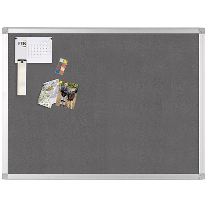 Q-Connect Noticeboard, Aluminium Trim, W1800xH1200mm, Grey