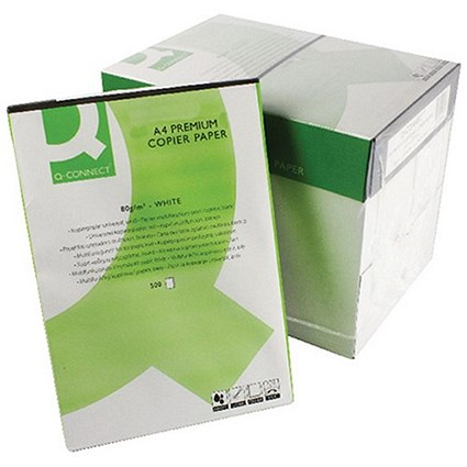 Q-Connect A4 Premium Multifunctional Paper, White, 80gsm, Box (5 x 500 Sheets)