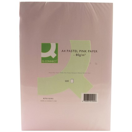 Q-Connect Coloured Paper - Pastel Pink, A4, 80gsm, Ream (500 Sheets)