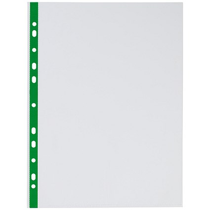 Q-Connect A4 Punched Pockets, Green Strip, Pack of 100