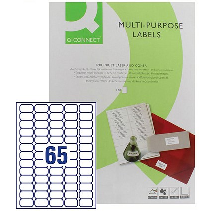 Q-Connect Multi-Purpose Label, 38.1x21.2mm, 65 per Sheet, Pack of 6500