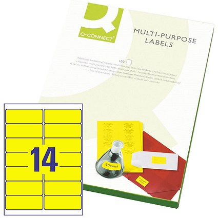 Q-Connect Multi-Purpose Label, 99.1x38mm.1, 14 per Sheet, Fluorescent Yellow, Pack of 100 Sheets.