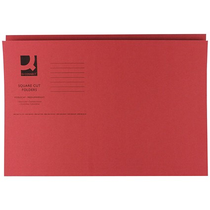 Q-Connect Square Cut Folders, 250gsm, Foolscap, Red, Pack of 100