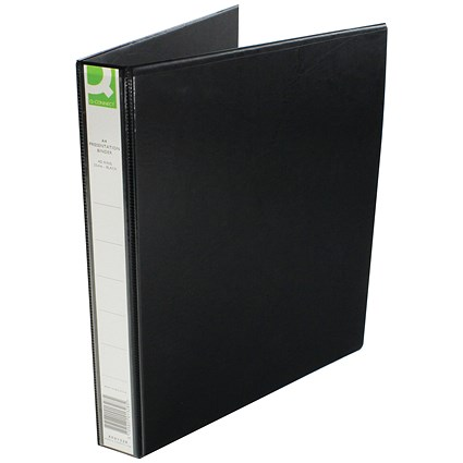 Q Connect Presentation Binder, 4 D-Ring, 25mm Capacity, A4, Black
