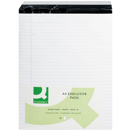 Q-Connect Executive Pad, A4, Ruled Feint & Margin, White, Pack of 10