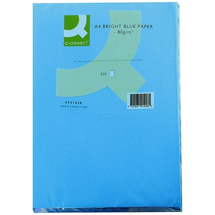 Q-Connect Coloured Paper - Bright Blue, A4, 80gsm, Ream (500 Sheets)