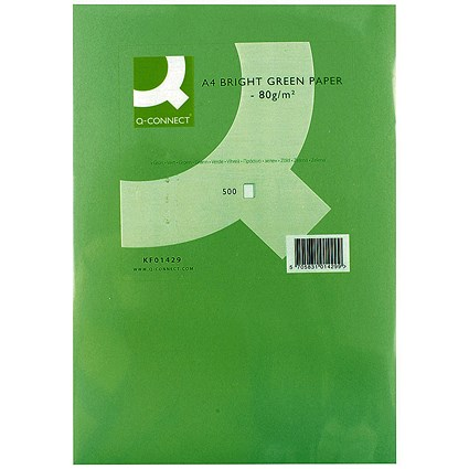 Q-Connect Coloured Paper - Bright Green, A4, 80gsm, Ream (500 Sheets)