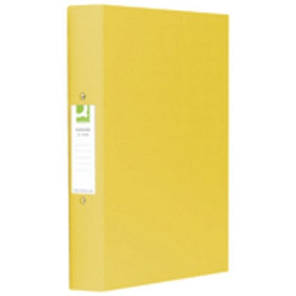 Q-Connect A4 Plastic Ring Binder, 2 O-Ring, 25mm Capacity, Yellow, Pack of 10