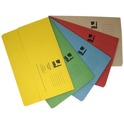 Q-Connect Document Wallets, 285gsm, Foolscap, Assorted, Pack of 50