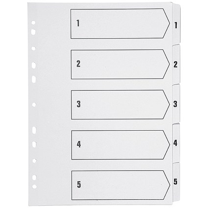 Q-Connect Index Dividers, 1-5, Clear Tabs, A4, White