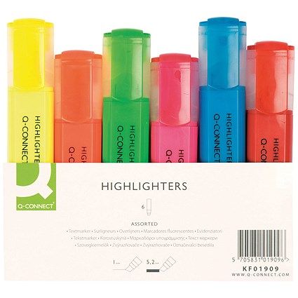 Q-Connect Assorted Highlighter Pens (Pack of 6)