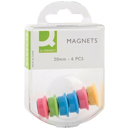 Q-Connect 24mm Magnet, Assorted, Pack of 6