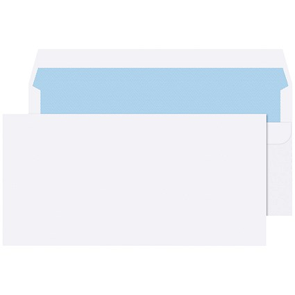 Q-Connect DL Envelopes Plain Wallet Self Seal 80gsm White (Pack of 20 x 50)