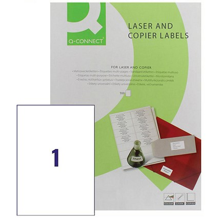Q-Connect Laser Label A4, 210x287mm, Pack of 100 Sheets