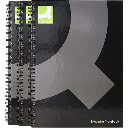Q-Connect Wirebound Hardback Book, A4, Pack of 3