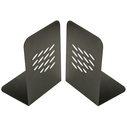 Q-Connect L-Shaped Metal Bookends, 190mm Medium, One Pair