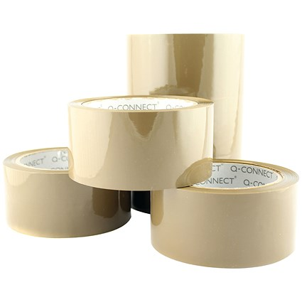 Q-Connect Low Noise Packaging Tape, Brown, Pack of 6