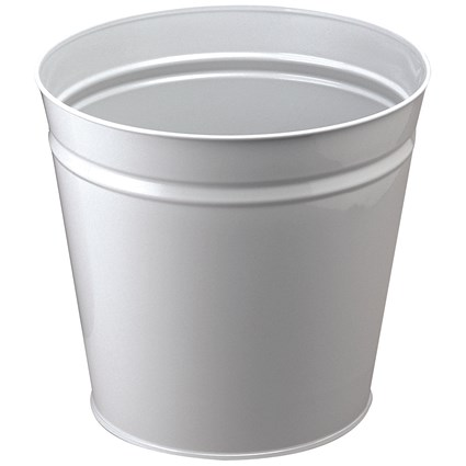 Q-Connect Round Metal Waste Bin, 15 Litre, Grey