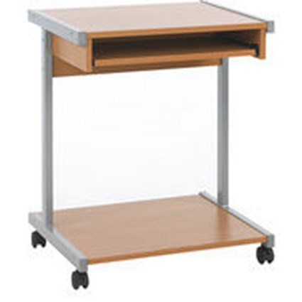 Jemini Intro Mobile Computer Workstation / 650mm Wide / Beech