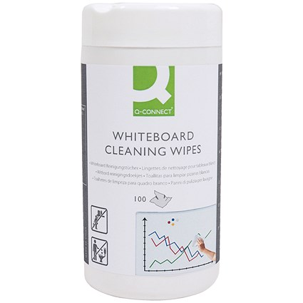 Q-Connect Whiteboard Cleaning Wipes (Pack of 100) AWBW100QCA