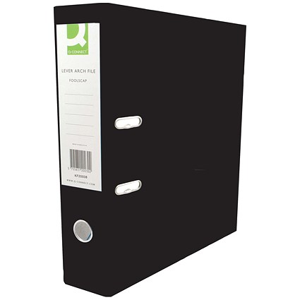 Q-Connect A4 Lever Arch Files, Plastic, Black, Pack of 10