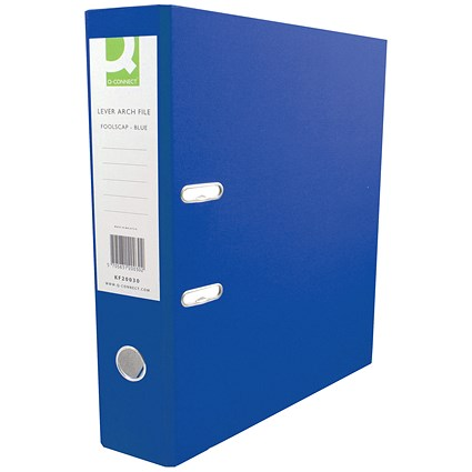 Q-Connect A4 Lever Arch Files, Plastic, Blue, Pack of 10