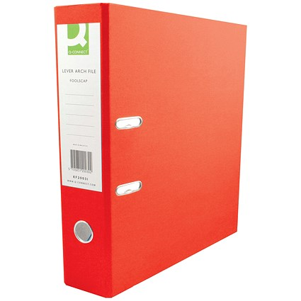 Q-Connect A4 Lever Arch Files, Plastic, Red, Pack of 10