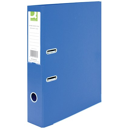 Q-Connect Foolscap Lever Arch Files, Plastic, Blue, Pack of 10