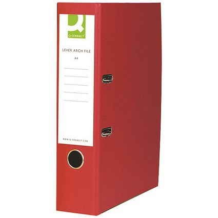 Q-Connect A4 Lever Arch Files, Red, Pack of 10