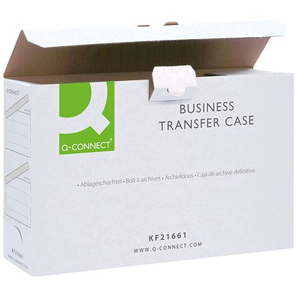 Q-Connect Business Transfer Cases, Foolscap, White, Pack of 10