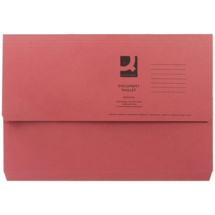 Q-Connect Document Wallets, 285gsm, Foolscap, Red, Pack of 50
