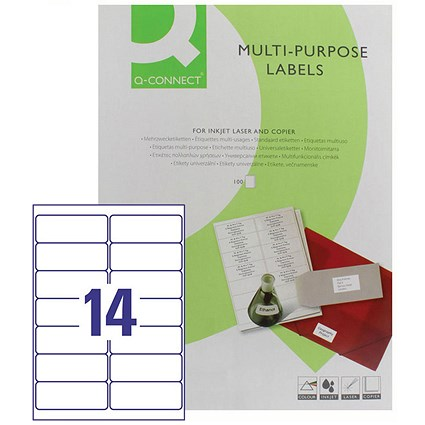 Q-Connect Multi-Purpose Label, 99.1x38mm, 14 per Sheet, Pack of 100 Sheets