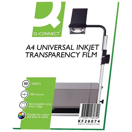 Q-Connect OHP Inkjet Film, Universal, A4, Pack of 50