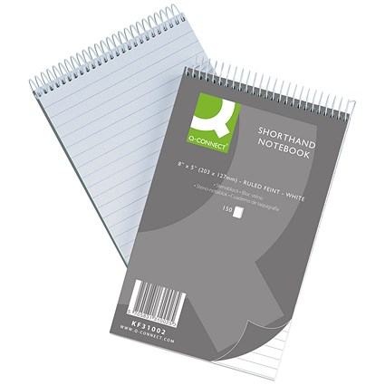Q-Connect Shorthand Notebook, 203x127mm, Feint Ruled, 150 Leaf, Pack of 10