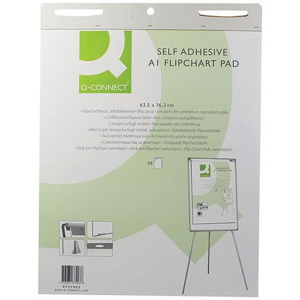 Q-Connect Self-Adhesive Flipchart Pad, 30 Sheets, A1, Pack of 2
