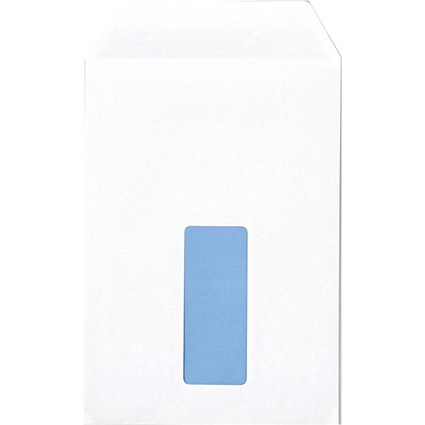 Q-Connect C5 Pocket Envelopes with Window, White, Press Seal, 90gsm, Pack of 500