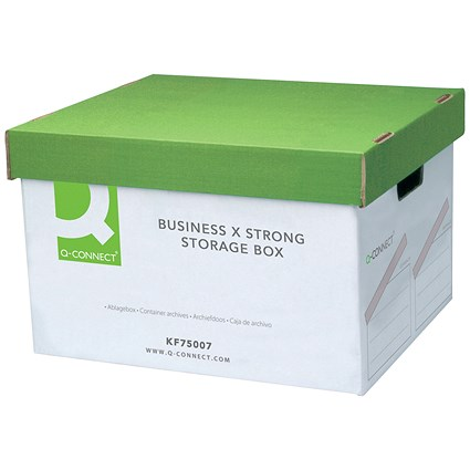 Q-Connect Business Storage Box, Extra Strong, White, Pack of 10