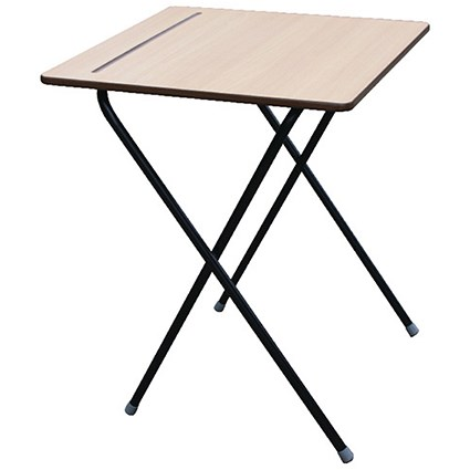 Jemini Folding Exam Desk / Beech / Bulk Pack of 60