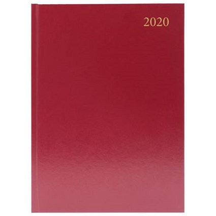2020 Diary A4, Day Per Page, Burgundy