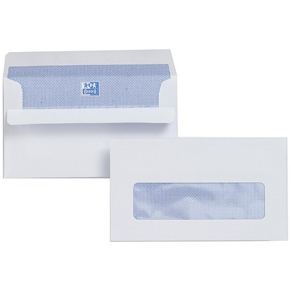 Plus Fabric Wallet Envelopes / Window / 89x152mm / 120gsm / White / Press Seal / Pack of 500