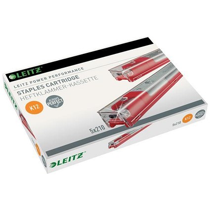 Leitz Staple Cassette Cartridge 210 Staples, K12 Red, Pack of 5