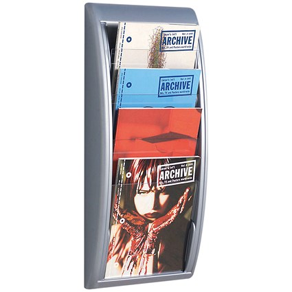 Fast Paper Wall-Mounted Literature Holder, 4 x A4 Pockets, Silver