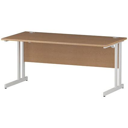Impulse 1600mm Rectangular Desk, White Legs, Oak