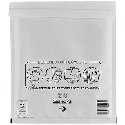 Mail Lite Bubble Lined Postal Bag, White, 220x260mm, Pack of 100
