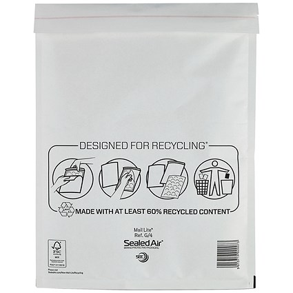 Mail Lite Bubble Lined Postal Bag, White, 240x330mm, Pack of 50