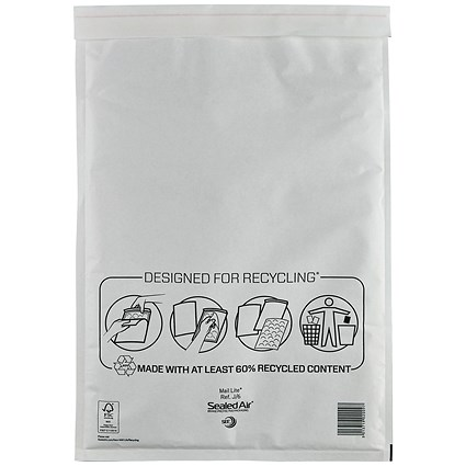 Mail Lite Bubble Lined Postal Bag, White, 300x440mm, Pack of 50
