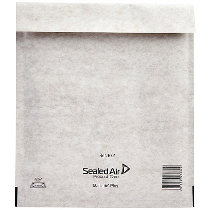 Mail Lite Plus Bubble Lined Postal Bag Size E/2 220x260mm Oyster White (Pack of 100) MLPE/2