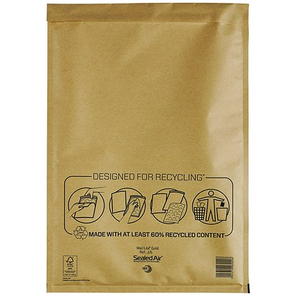 Mail Lite Bubble Lined Postal Bag, Gold, 300x440mm, Pack of 50