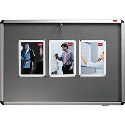 Nobo Display Cabinet Noticeboard, Lockable, A1, W1025xH745mm, Grey