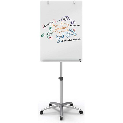Nobo Glass Mobile Easel (Includes dry erase marker and aluminium pen tray)